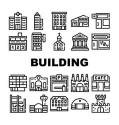Building architecture collection icons set vector