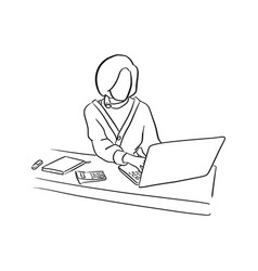 businesswoman using computer notebook laptop on vector image
