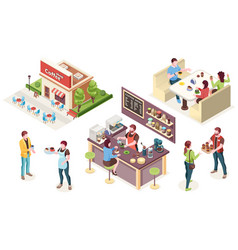cafe coffee shop isometric people and interior vector image