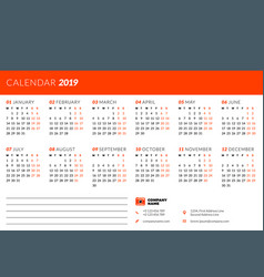 calendar design template for 2019 year week vector image