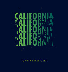California summer graphic with palms t-shirt vector