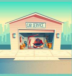 Cartoon mechanic workshop with car garage vector