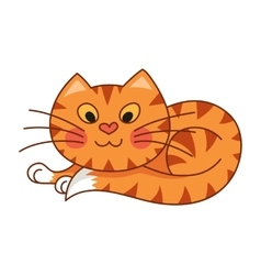Cartoon plump kitty of red vector image