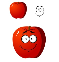 Cartoon smiling happy red apple fruit vector