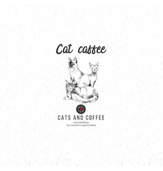 cat coffee logo template vector image