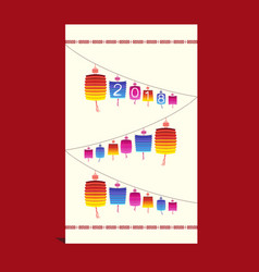 Chinese new year 2018 card with lantern vector