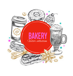 coffee and bakery label 2 vector image