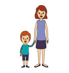Color image caricature full body mother taken hand vector