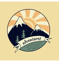 Colored vintage adventure label vector image