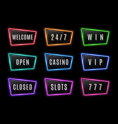colorful neon signs collection with glossy vector image