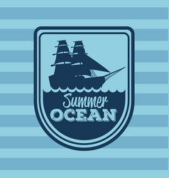 colorful stripe background with logo summer ocean vector image