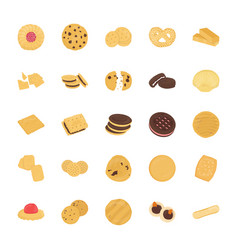 Cookies flat icons set vector