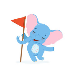 Cute baby elephant standing with red flag funny vector