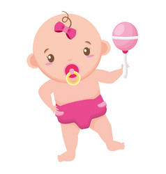 Cute girl in diaper with rattle bashower vector