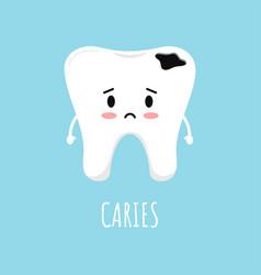 Cute sad emoticon tooth with dental caries vector