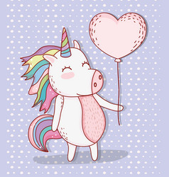 Cute unicorn animal with heart balloon vector