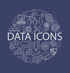 data icons line set vector image