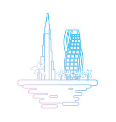 Dubai cityscape cartoon neon lines vector