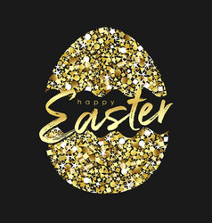 easter card glittering golden eg vector image