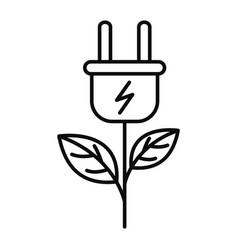 eco energy plant icon outline style vector image