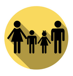 Family sign flat black icon with flat vector
