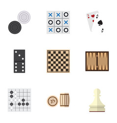 flat icon entertainment set of chess table pawn vector image