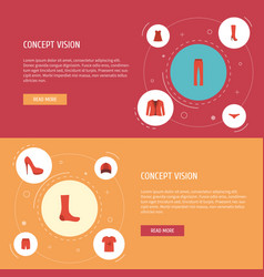 flat icons coat casual hat and other vector image