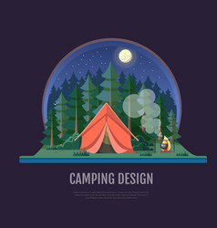 Flat style design of forest landscape and camping vector