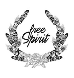 Free spirit feathers with flowers ornament vector