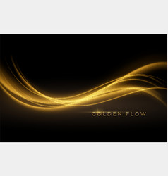 gold wave flow and golden glitter on black vector image