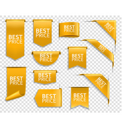 golden banners web site price ribbons vector image