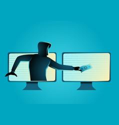 hacker stealing money vector image