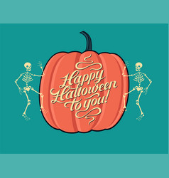 halloween calligraphy vintage style poster vector image