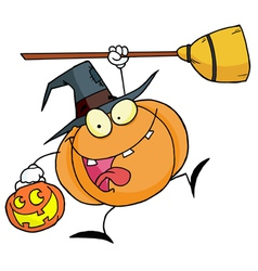 Halloween Happy Pumkin With A Broom vector image