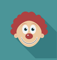 happy clown face flat long shadow design icon vector image