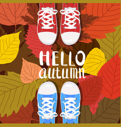 Hello autumn color persons feet vector