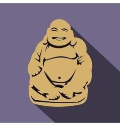 Hotei or Budai Japanese Netsuke icon flat style vector image