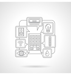 House remote control detail flat line icon vector image