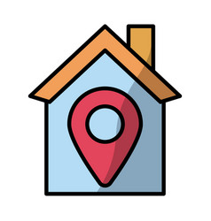 house with pin location fill style vector image