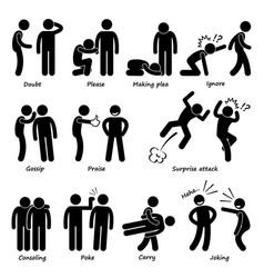 Human man action emotion stick figure pictogram vector