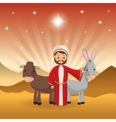 joseph icon Merry Christmas design vector image