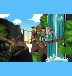 kids on an adventure trip vector image
