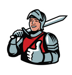 knight with sword strength power symbol vector image