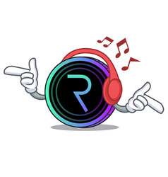 Listening music request network coin mascot vector