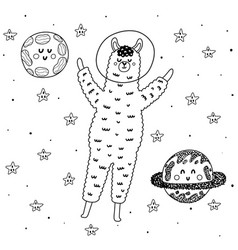 llama astronaut in space coloring page vector image