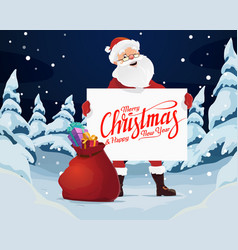 merry christmas santa with blank paper and gifts vector image