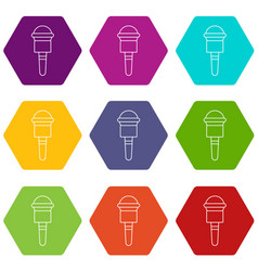 microphone icons set 9 vector image