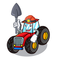 Miner tractor mascot cartoon style vector