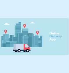 Mobile online pickup and delivery concept vector