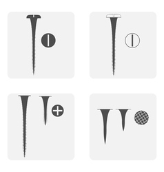 monochrome icon set with screws and nails vector image
